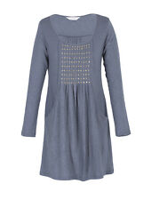 *SALE*  Nomads Organic Cotton Long Sleeved Tunic Dress Grey Sequins Fair Trade