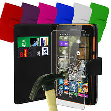 PU Leather Flip Wallet Case Cover & Tempered Glass Protector For Various Mobiles