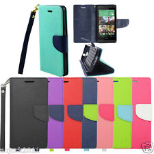 Business Folio Wallet Pouch w/Stand+ID Slots Cover PU Case HTC Models