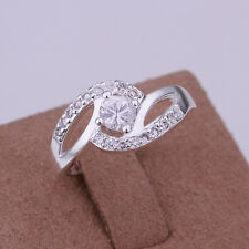 Optional S80 silver inlaid stone lovers bicyclic ring size 7-8 jewelry gift H137