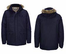 BRAVE SOUL MEN'S CANADA TRIM FUR HOODED PARKA WINTER JACKET COAT  - NAVY