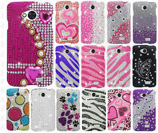 For MetroPCS LG Optimus F60 Crystal Diamond BLING Hard Case Cover +Screen Guard