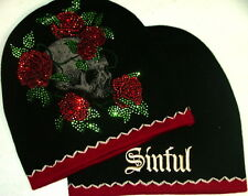 Sinful AFFLICTION Women BEANIE Hat SKULL ROSES Rhinestone Tattoo Snow Winter $50