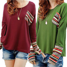 PLUS SIZE Womens Splice Long Sleeve T-Shirt Blouse Casual Loose Shirt Tops