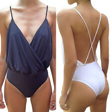 Summer Womens Spaghetti Strap Backless Bodysuit Strappy Backless V Neck Jumpsuit