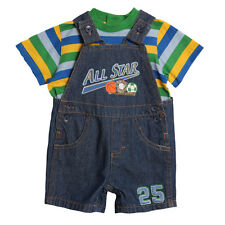 Baby Togs Baby Boys' 2 Piece Striped T-shirt Denim Overalls Shorts Set