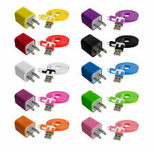 Flat Noodle Micro USB Data Cable Cord 3FT+AC Wall Travel Charger for Cell Phones