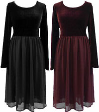 PLUS SIZE 14-22 BLACK BURGUNDY VELVET GOTHIC WENCH GHOST FITTED TOP ZIP DRESS
