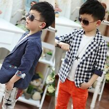 Kids Toddlers Boys Outwear Plaid Check Dots Casual Suit Jacket Coat Clothes 2-7Y