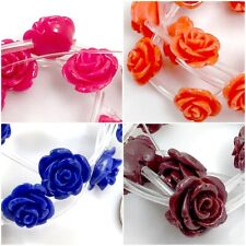 15x10mm Resin Rose beads 15pcs , pick your color.