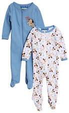 Baby Paris Baby Boys' 2 Pack of 1 Piece Blue Layette Footed Sleepers
