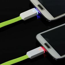 1M LED Light Flat Micro USB Charger Cable Data Sync Cord For Mobile Smart Phones