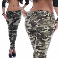 Damen Jeans Hose Röhrenjeans Skinny Camouflage Hüftjeans Camo Armee Army Wow B43