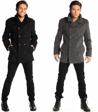 Mens Double Breasted Wool Pea Coat Alpine Swiss Dress Jacket Overcoat Peacoat