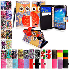 Printed PU Leather Case Cover Wallet For Samsung Galaxy Mobiles With Free Stylus