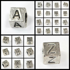 7mm Silver Pewter Alphabet  Beads (per 2 pcs/set) , pick your letter. Large Hole