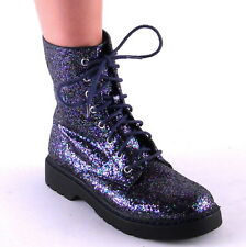 New Womens Purple Multicolor Glitter Laceup Lug Sole Combat Boots