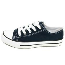 LADIES NAVY CANVAS FLAT TRAINER PLIMSOLL PUMPS CASUAL SHOES SIZE 4-8 SECONDS