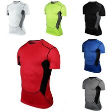 Mens Sports Compression Wear Under Pro Base Layer Short Sleeve T-Shirts Athletic