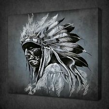 AMERICAN INDIAN PORTRAIT CANVAS PRINT ART PICTURE WALL HANGING FREE UK P&P