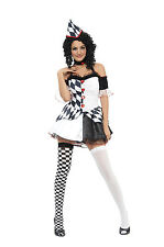 Harlequin Jester Clown Circus Costume+ Hat Halloween Ladies Fancy Dress 10-14
