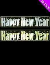 Happy New Year Shiny Fringe Foil Banner Party Decoration Gold or Silver Foil