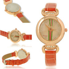 Candy Color Women Faux Leather Fashion Band Trendy Analog Quartz New Wrist Watch