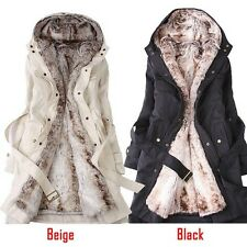Women Winter Faux Fur Lining 2 in 1 Parka Long Jacket Coat Outwear Black Beige