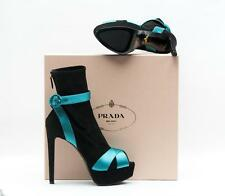 NEW! $1100 PRADA BLACK SUEDE OPEN TOE BOOT WITH TEAL SATIN STRIPING
