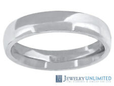 10K White Gold Mens Ladies Comfort Fit Wedding Engagement Ring Band 4mm Size6-13
