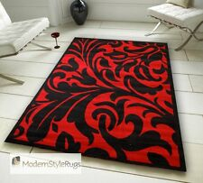 Black and Red Budget Rug - Damask Design - Comes In Large Room Sizes and Runner
