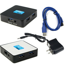 US 5Gbps External USB 3.0 4 Ports Hub Adapter With Power Adapter For PC Salable
