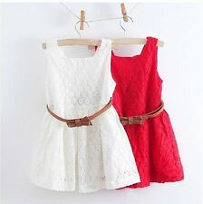 NWT Red White Girl Baby Princess Wedding Party Pageant Belt Lace Dress V22 2-6T