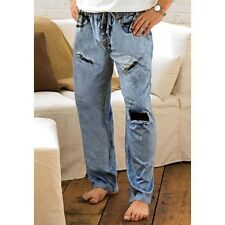MENS BLUE JEANS RIP TORN FADED DENIM UNDER DISGUISE PJ LOUNGE PANTS S-XXL NEW