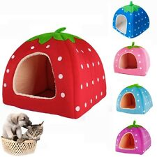 Super Cute Strawberry Style Dog Cat PET BED House Nest Cave Bed small med. large