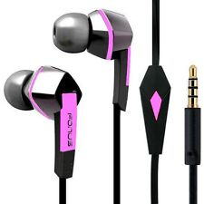 PREMIUM SOUND FLAT WIRED EARPHONES PINK/BLACK HEADSET EARBUDS w MIC for TABLETS