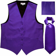 New Men's Purple vest Tuxedo Waistcoat ascot hankie set wedding prom