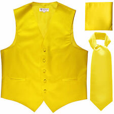 New Men's yellow formal vest Tuxedo Waistcoat ascot & hankie set prom