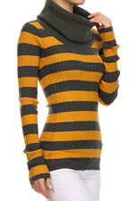 Striped Large Turtleneck Fitted Sweater Long Sleeve Knit Top w/ $48 price tag