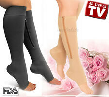 New Zippered Compression Knee Socks Leg Support Open Toe Stockings Black Beige