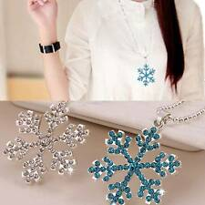 Women Crystal Frozen Snowflake Charm Pendant Dress Up Chain Necklace XMAS Gift
