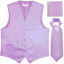 New Men's Lavender formal vest Tuxedo Waistcoat ascot & hankie set prom wedding
