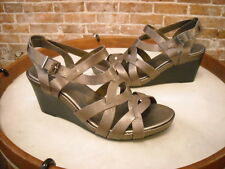 Clarks Pewter Leather Star Mello Wedge Sandal NEW