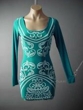 Teal Blue Moroccan Ethnic Exotic Henna Design Bodycon Casual 120 mv Dress S M L