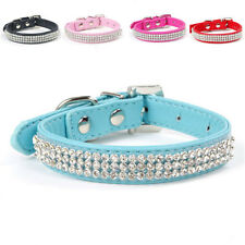 New Cute Dog Cat Collars PU Leather Diamond Rhinestone Chic Bling Crystal Buckle