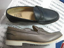 NIB J.D.Fisk Scully PREMIUM Mens Leather Loafers Shoes BLACK/TAUPE MANY SIZES