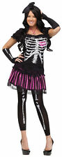 ADULT WOMENS SALLY SKELLY SKULLY SKELETON COSTUME Scary Sexy Theme Halloween