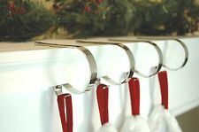 4 Christmas Stocking Holders Mantle Clips Polished Silver Polished Brass NIB