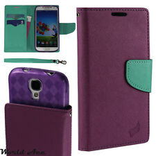 Flip Wallet Pouch Case For LG Flip PU Leather Folio Cover Purple / Teal +TPU
