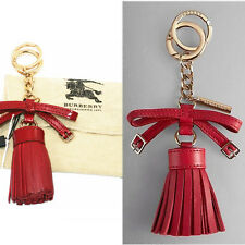 NEW $235 BURBERRY Bright ROSE or Military RED Leather Bette Tassel KEYRING 4 Bag